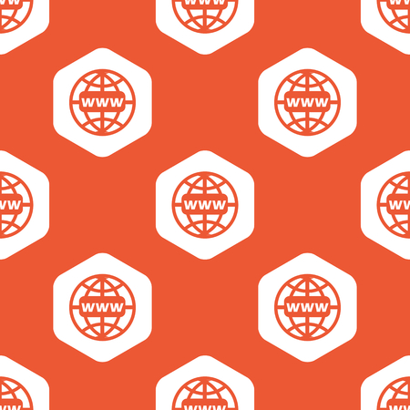equator: Image of globe with text WWW in white hexagon, repeated on orange background