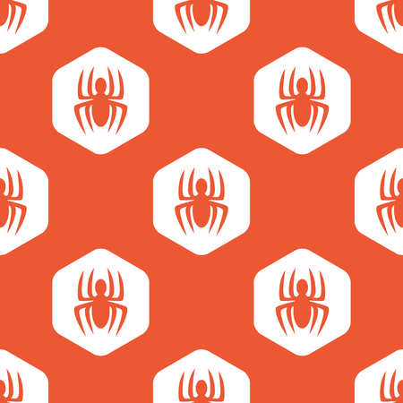 repeated: Image of spider in white hexagon, repeated on orange background
