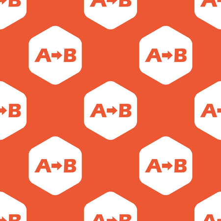 derivation: Letters A, B and arrow in white hexagon, repeated on orange background