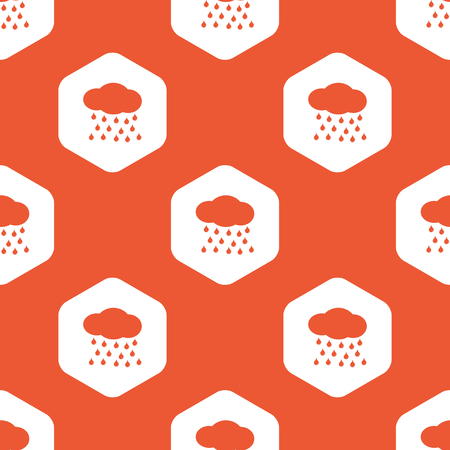 sleet: Image of cloud and water drops in white hexagon, repeated on orange background Illustration