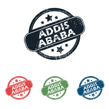 ababa: Set of four stamps with name Addis Ababa and stars, isolated on white