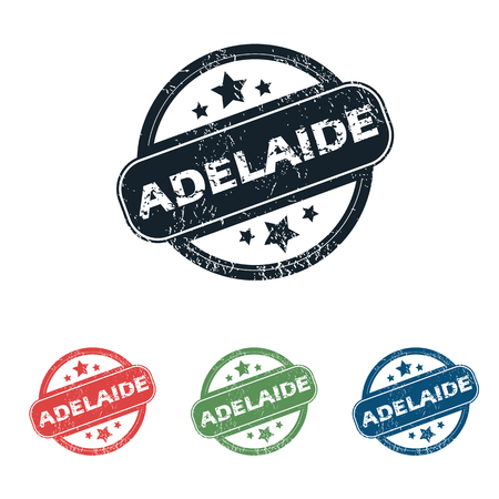 adelaide: Set of four stamps with name Adelaide and stars, isolated on white Illustration