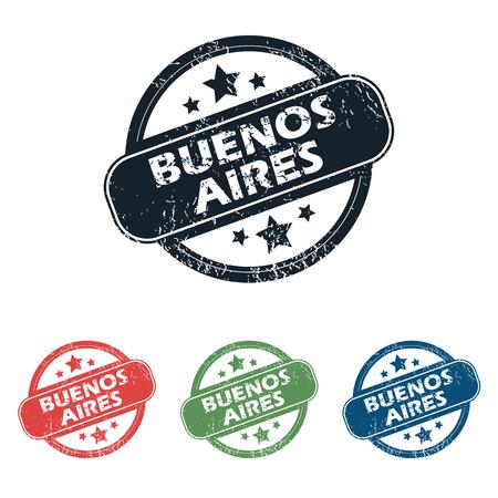 buenos aires: Satz von vier Briefmarken mit Namen Buenos Aires und Sterne, isoliert auf wei�