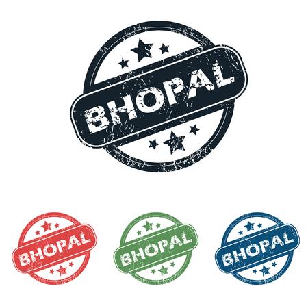 bhopal: Conjunto de cuatro sellos con el nombre de Bhopal y las estrellas, aislado en blanco
