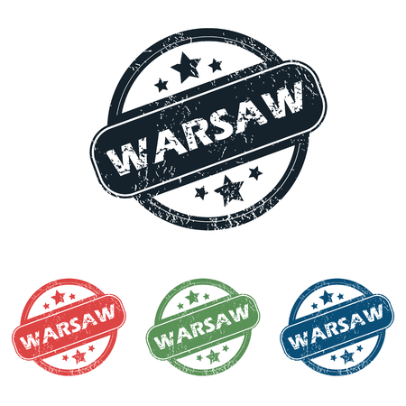 warsaw: Set of four stamps with name Warsaw and stars, isolated on white