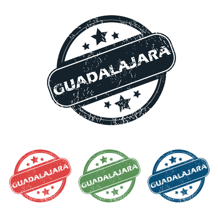 guadalajara: Set of four stamps with name Guadalajara and stars, isolated on white