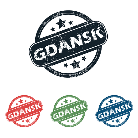 gdansk: Set of four stamps with name Gdansk and stars, isolated on white Illustration