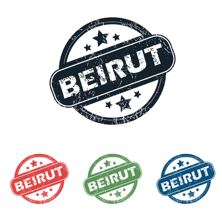 beirut: Set of four stamps with name Beirut and stars, isolated on white