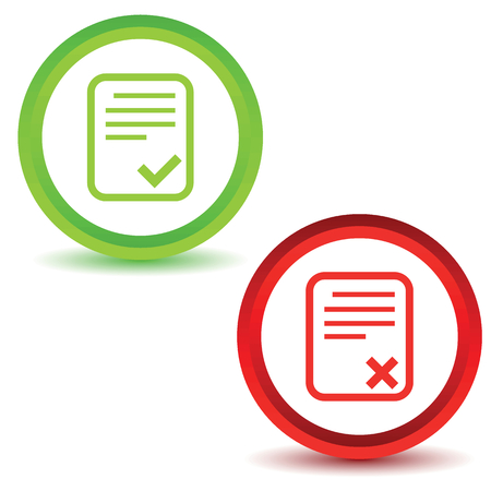 rejected: Icons with image of document page with cross or tick mark, isolated on white