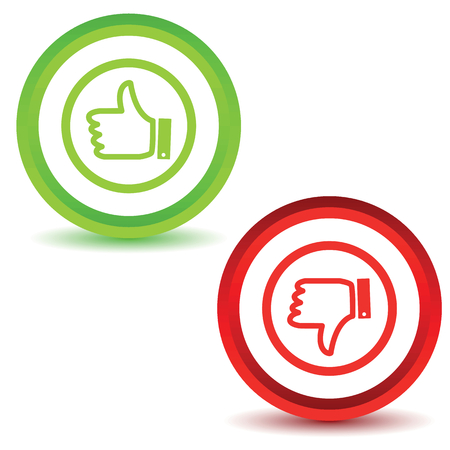 disapproval: Two icons with image of like and dislike symbols, isolated on white