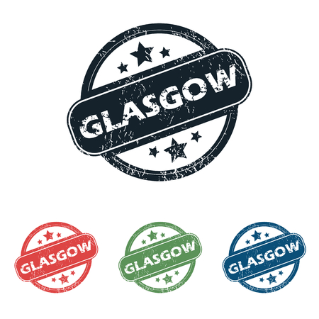 glasgow: Set of four stamps with name Glasgow and stars, isolated on white