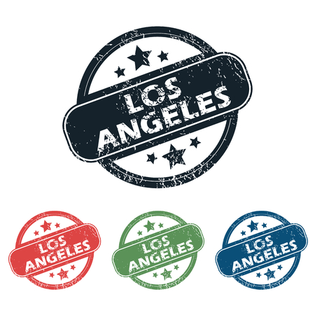 los: Set of four stamps with name Los Angeles and stars, isolated on white