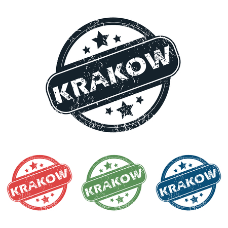 krakow: Set of four stamps with name Krakow and stars, isolated on white Illustration