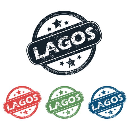lagos: Set of four stamps with name Lagos and stars, isolated on white