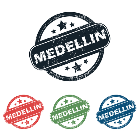 medellin: Set of four stamps with name Medellin and stars, isolated on white Illustration