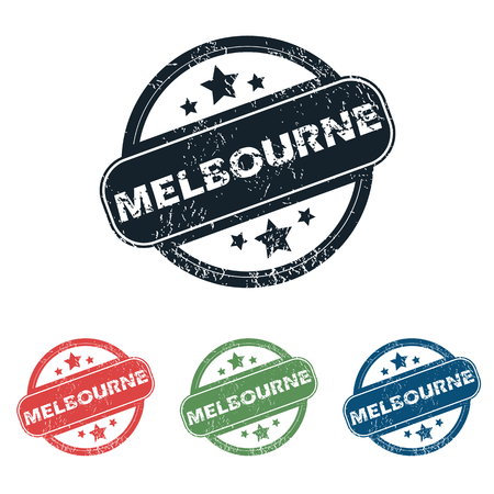 melbourne: Set of four stamps with name Melbourne and stars, isolated on white Illustration