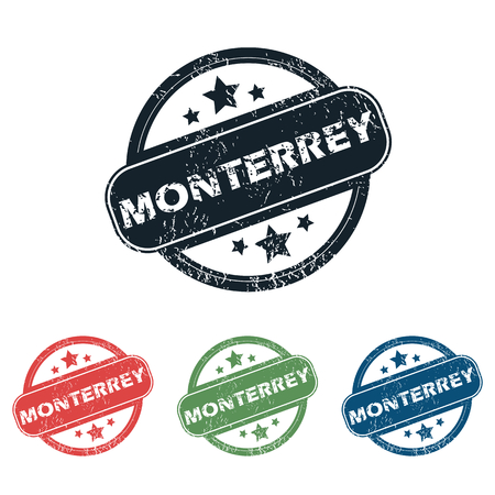 monterrey: Set of four stamps with name Monterrey and stars, isolated on white