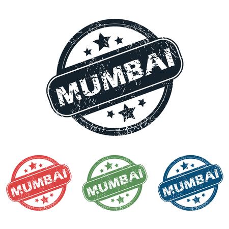 mumbai: Set of four stamps with name Mumbai and stars, isolated on white