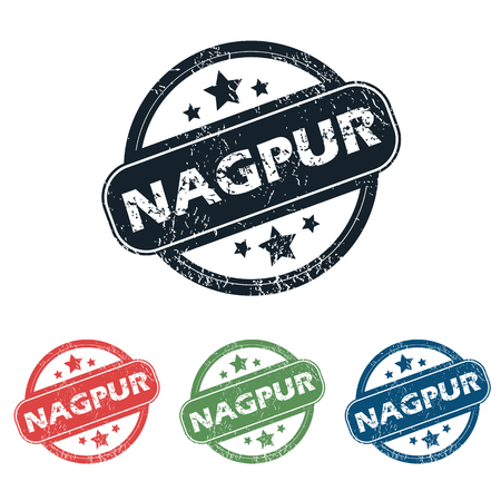 nagpur: Set of four stamps with name Nagpur and stars, isolated on white