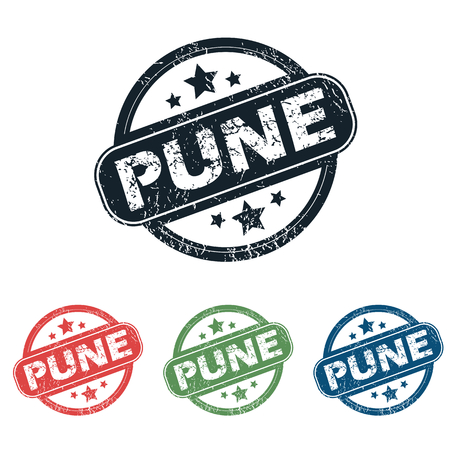 pune: Set of four stamps with name Pune and stars, isolated on white