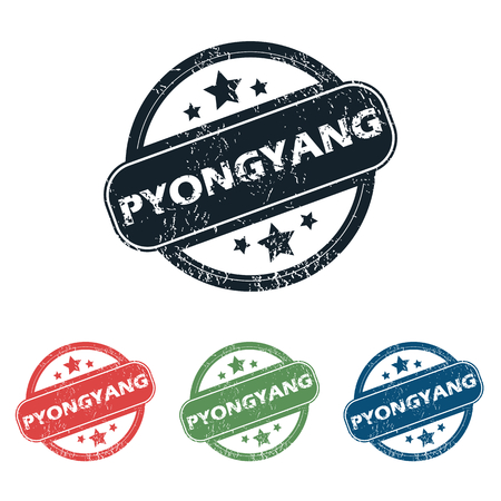 pyongyang: Set of four stamps with name Pyongyang and stars, isolated on white
