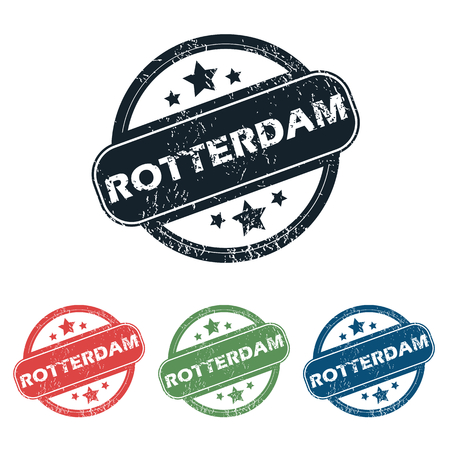 rotterdam: Set of four stamps with name Rotterdam and stars, isolated on white Illustration
