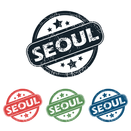 seoul: Set of four stamps with name Seoul and stars, isolated on white Illustration