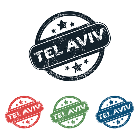 tel: Set of four stamps with name Tel Aviv and stars, isolated on white