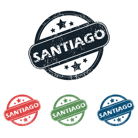 santiago: Set of four stamps with name Santiago and stars, isolated on white