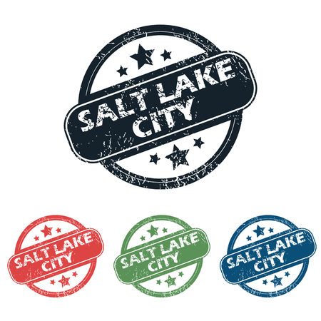 salt lake city: Set of four stamps with name Salt Lake City and stars, isolated on white Illustration
