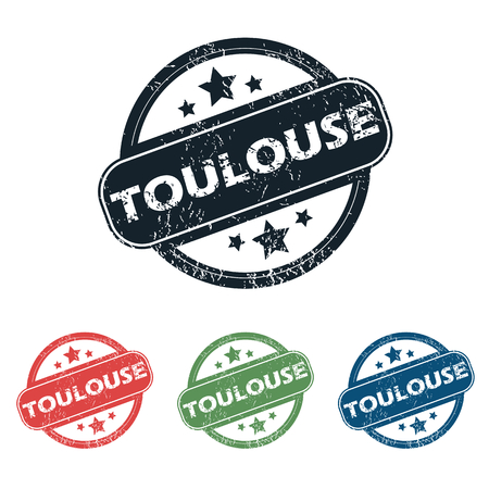 toulouse: Set of four stamps with name Toulouse and stars, isolated on white Illustration