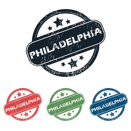 philadelphia: Set of four stamps with name Philadelphia and stars, isolated on white