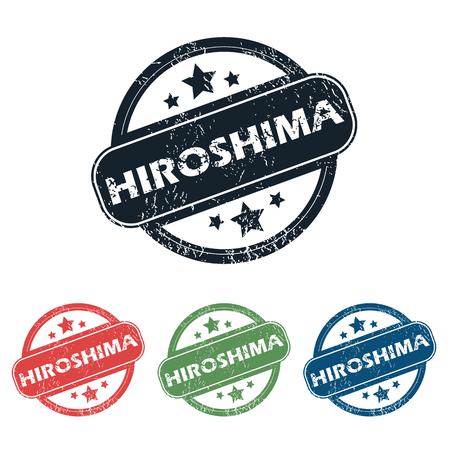 hiroshima: Set of four stamps with name Hiroshima and stars, isolated on white Illustration