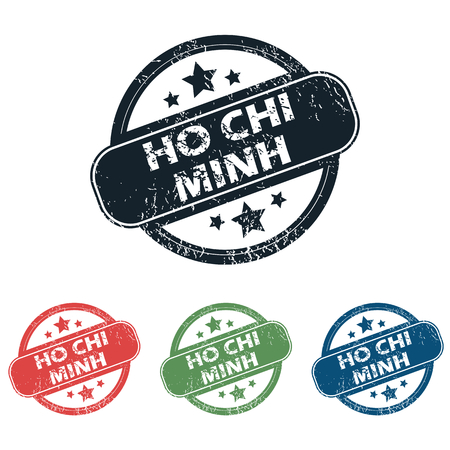 chi: Set of four stamps with name Ho Chi Minh and stars, isolated on white Illustration