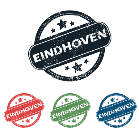 eindhoven: Set of four stamps with name Eindhoven and stars, isolated on white