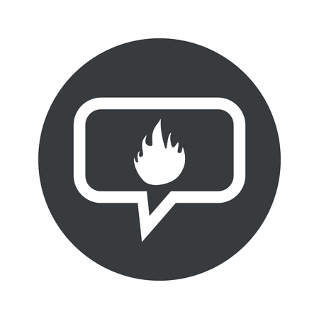 conflagration: Image of flame in chat bubble, in black circle, isolated on white