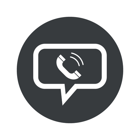 ringing phone: Image of ringing phone receiver in chat bubble, in black circle, isolated on white Illustration