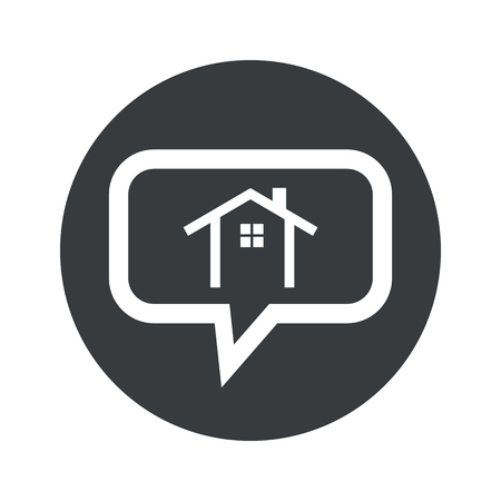 housetop: House contour with window in chat bubble, in black circle, isolated on white Illustration