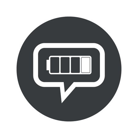 low battery: Image of low battery in chat bubble, in black circle, isolated on white