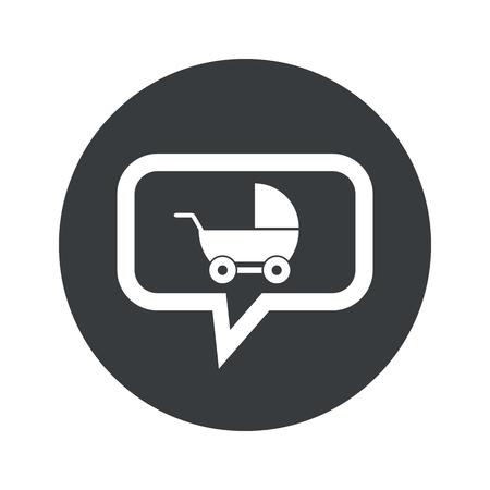 perambulator: Image of perambulator in chat bubble, in black circle, isolated on white Illustration