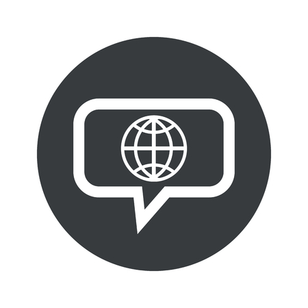 parallel world: Image of globe in chat bubble, in black circle, isolated on white