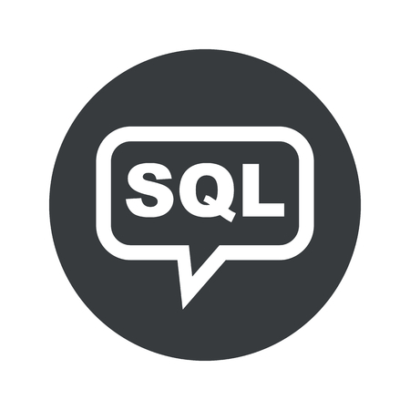 sql: Text SQL in chat bubble, in black circle, isolated on white Illustration