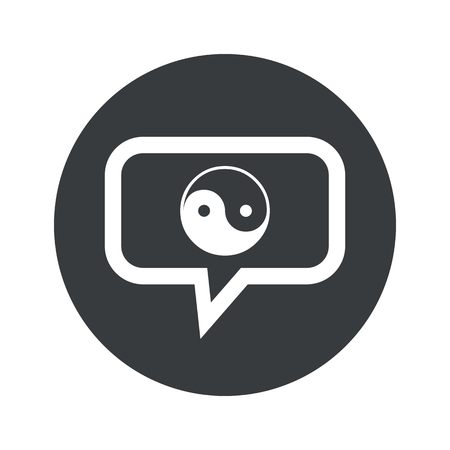 Image of ying yang symbol in chat bubble, in black circle, isolated on white