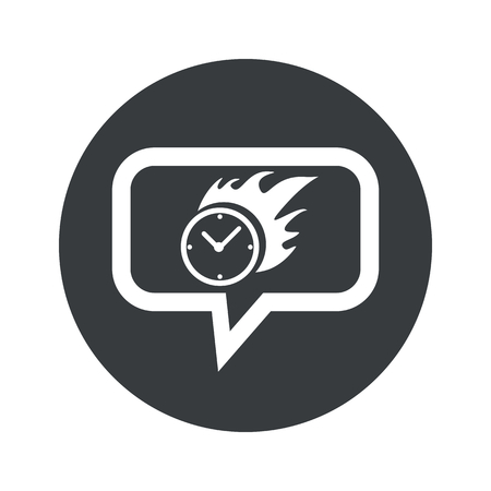 bounds: Image of burning clock in chat bubble, in black circle, isolated on white Illustration