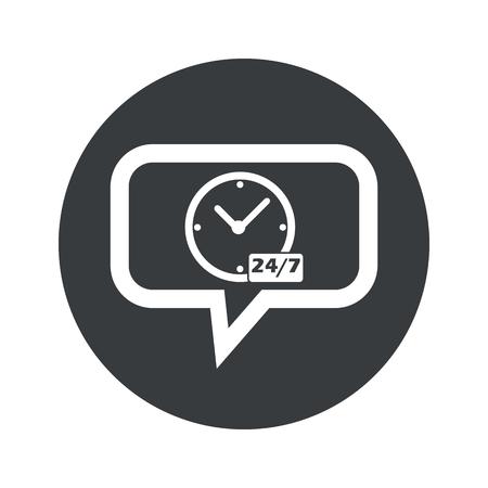 overnight: Orologio, il testo 24 per 7 a bolla di chat, in cerchio nero, isolato su bianco