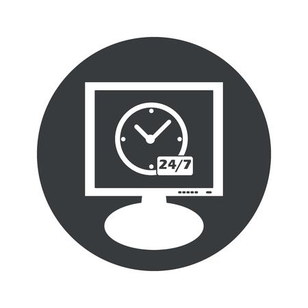 時計と白で隔離モニター、黒い円で 7 あたりテキスト 24