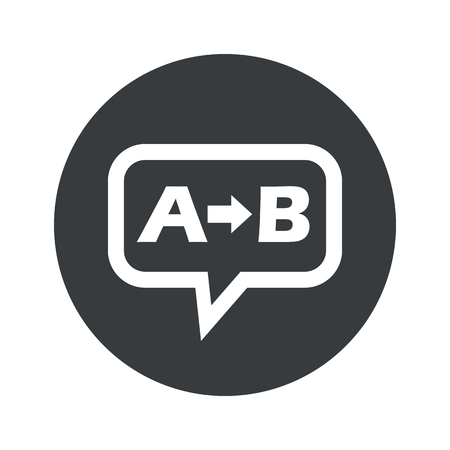 Letters A, B and arrow in chat bubble, in black circle, isolated on white Illustration