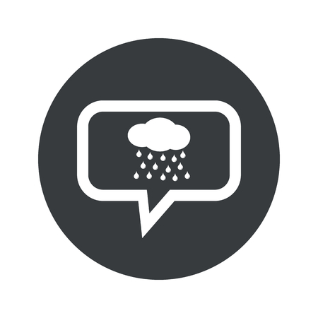 sleet: Cloud with water drops in chat bubble, in black circle, isolated on white Illustration