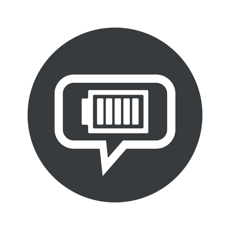charged: Image of fully charged battery in chat bubble, in black circle, isolated on white