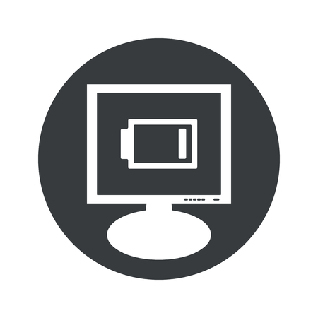 low battery: Image of very low battery on monitor, in black circle, isolated on white